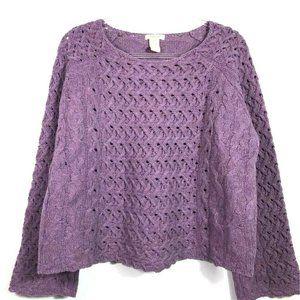Sundance Womens Pullover Sweater Purple Lambswool